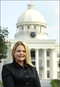 Loretta Nall in front of Alabama Statehouse