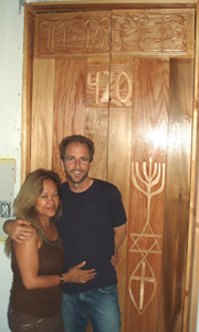 Craig and his wife beside the Temple 420 door