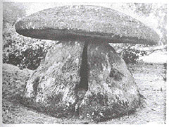 Vagina-shaped megalithic burial chamber with mushroom cap, South India, 1000BC.