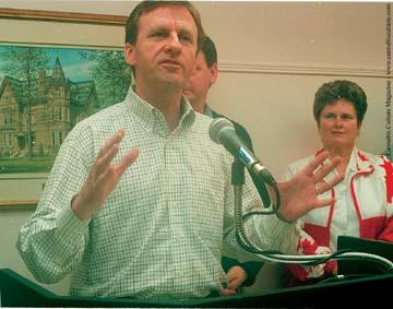 Allan Rock addressing the crowd at Tillsonburg.  Photo: Tillsonburg News
