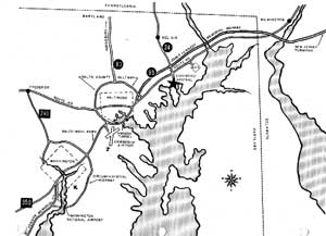 Map of Edgewood Arsenal in relation to Baltimore