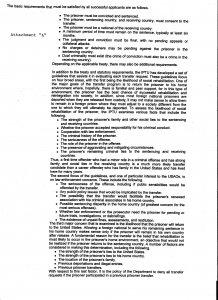 Attachment A: Prisoner transfer criteria