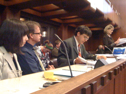 CCHQ's business license hearing at Vancouver City Hall. From left: Jodie Emery, Marc Emery, Kirk Tousaw, Barbara Windsor