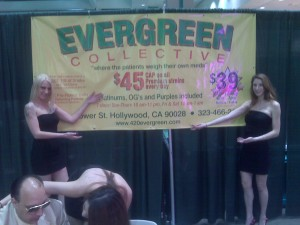 "Evergreen Collective, one of many advertising at this year's THC Exposé in LA, promoting their $45/4-gram eighth ounce ""specials""."