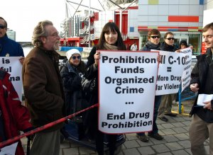 Jodie at a protest against prohibitionist Prime Minister Harper