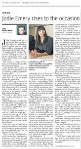 Vancouver Sun news column on Jodie