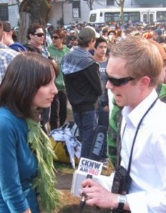 "Jodie being interviewed by CKNW radio at the Vancouver Art Gallery for the ""420"" rally"