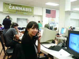 Jodie making phone calls for the Prop. 19 ballot initative, Oakland 2010