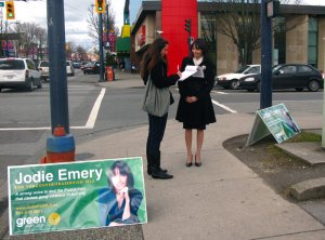 Jodie running for the BC Green Party, 2009