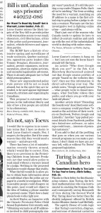 Letters in the National Post newspaper by Marc and Vic Toews