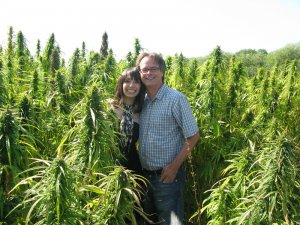 Jodie and Marc in legal hemp field, 2009