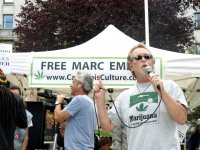 Greg Williams, long-time pot activist and close friend of Marc Emery, speaking to protesters.