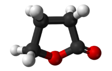 Ball-and-stick model of the γ-butyrolactone (GBL) molecule.