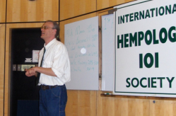 Cannabis activist Ted Smith speaking at the Hempology 101 conference at Vancouver Island University in Nanaimo, BC.