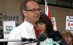 Marc and Jodie Emery speak to media and supporters at a press conference before Marc's surrender to authorities. (Photos by Jeremiah Vandermeer)