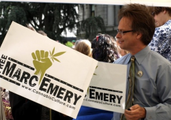 "Marc Emery in Vancouver at ""The Worldwide Rally for The Prince of Pot"". (Photo by Jeremiah Vandermeer)"