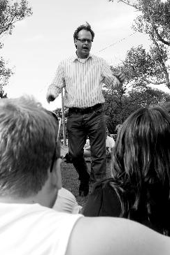 Marc Emery speaks in Bannerman Park Wednesday. (Photo by James McLeod)