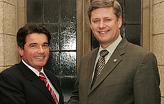 Vancouver Island Conservative MP Gary Lunn with Prime Minister Stephen Harper.