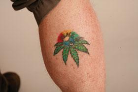 Marijuana Man/Greg Williams: tattoo on calf by Sharky's in Byron Bay Australia
