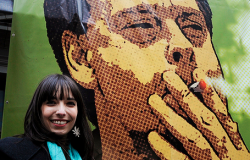 "Jodie Emery poses with a picture of her husband, jailed pot activist Marc Emery, outside the Vancouver Art Gallery on April 20, 2011. Vancouver's annual ""4/20"" marijuana freedom rally drew thousands of jubilant pot smokers to the Vancouver Art Gallery in downtown Vancouver. (Photo by Mark van Manen)"