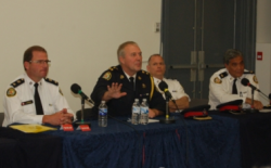 Toronto Police Chief Bill Blair and fellow officers met with the LGBT community on May 4, 2010 to discuss the concerns of local residents. (Sandie Benitah/ctvtoronto.ca)