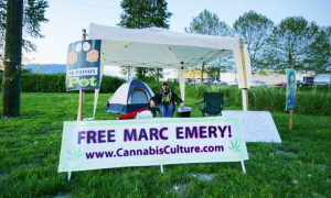 The 24-hour-a-day prison vigil for The Prince of Pot is back! Come out, get high, and show your support for Marc Emery. (Photos by Bert Easterbrook)