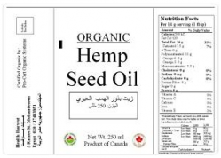 Organic hemp seed oil label, from Soliman's company, Health Harvest