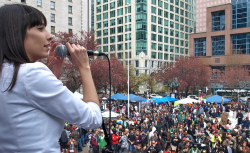 Activist Jodie Emery rousing the crowd at 4/20 2011.