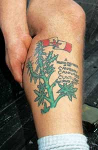 Tim Person of Calgary's Hemporium hemp store shows his Canadian pot patriotism with pride! Tim has been a fan and supporter of Marc Emery since 1995, and his store stocks plenty of Cannabis Culture magazines and other great products, and also features a l