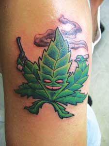 "Chad Thomas' ""killa weed"" tattoo done at Adrenaline Tattoo in Vancouver, BC by Adam Warner"