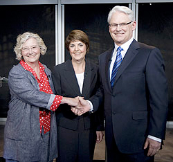 From left: Jane Sterk, Carole James and Gordon Campbell shake hands at the leaders' debate in Vancouver. (Jonathan Hayward/Canadian Press)