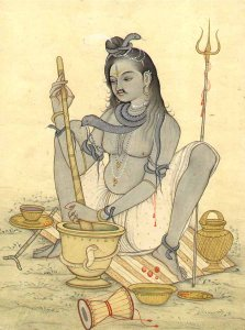 "Contemporary image of Shiva ""Concocting bhang"" by churning hemp with a pestle into a bowl of milk. (2)"
