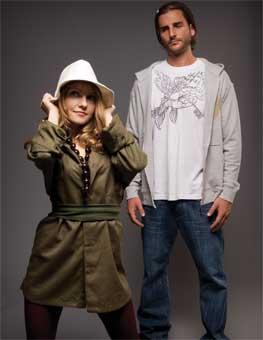 Rhiannon wears hemp shirt (worn as dress) from Satori ($75) and hemp fedora from Livity ($65); Josh wears organic cotton t-shirt from Sidual ($45), hemp zip up from I-Path ($85), hemp woven hat from Satori ($45), and hemp shoes from I-Path ($130).