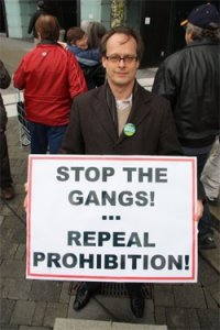 Marc at the Anti-Gang Rally with anti-prohibition signs.