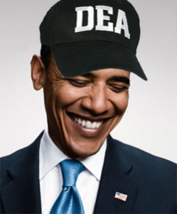 Will Obama fulfill his promise and end the DEA's war on medical marijuana, or will he let the madness continue? (Disclaimer: This picture is satire - Obama has not joined the DEA or kicked down any dispensary doors - but raids are now happening on his watch.)