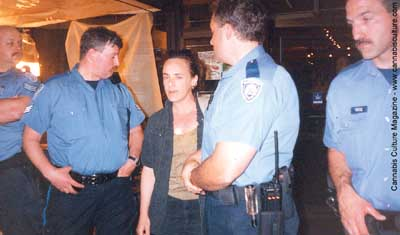 Sister Icee, owner of Hemp BC, during the April 30 raid.