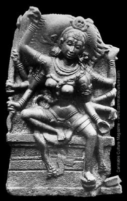 Ancient pot-sex Goddess Kali, From a 12th Century Indian temple.