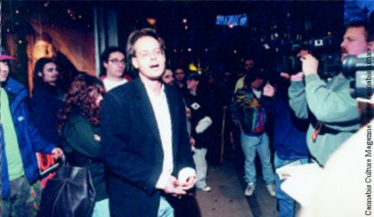 Marc Emery outside Hemp BC jeering the police. photo by Barge.