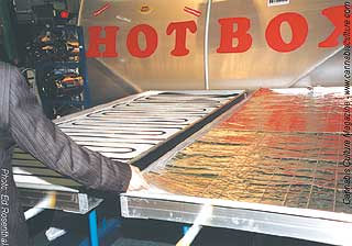 Heated water root zone heaters for floors(left) and tables(right).