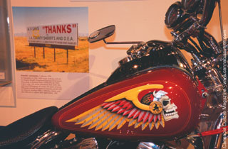 The spoils of war: a seized Harley on display
