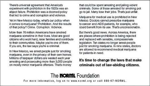 NORML ad text.
