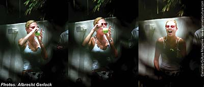 Charlize Theron: caught sucking an apple in the privacy of her own backyard pool party.