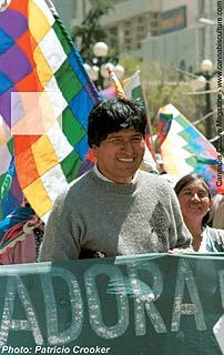 Evo Morales, President of the Confederation of Coca Leaf Producers