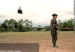 A helicopter lands in Chapare, Bolivia`s principle coca-growing region.