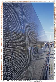Vietnam memorial: remembering those who died for the US`s military-industrial complex.