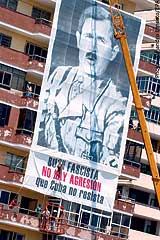 A poster erected during a protest in Havana