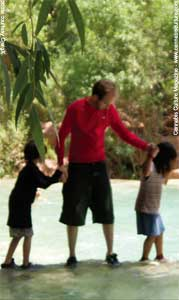 Father and children at Havasupai.