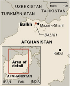The affected area in Afghanistan