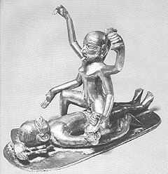 A bronze of Kali seated in intercourse with the corpse-image of Shiva. Rajasthan, 18th Century