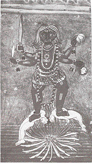 The Goddess Kali standing on corpses. c 1800.